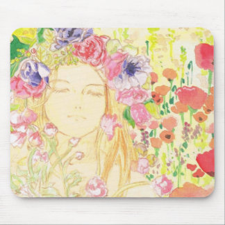 beautiful girl in the flower mouse pad