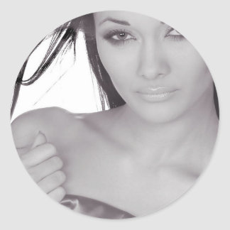 beautiful girl round sticker