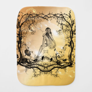 Beautiful girl surrounded by flowers burp cloth