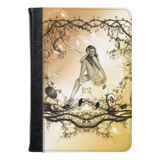 Beautiful girl surrounded by flowers kindle case