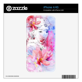 Beautiful girl with a bouquet of flowers decals for the iPhone 4S