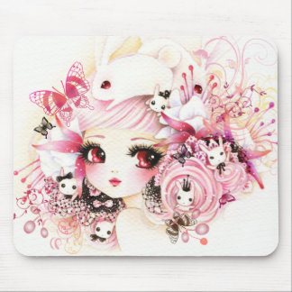 Beautiful girl with cute bunnies mouse pad