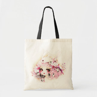 Beautiful girl with cute bunnies tote bag