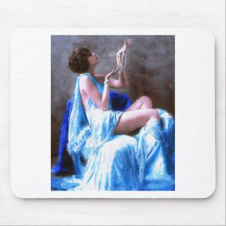 Beautiful Girl with Pearls Mouse Pad
