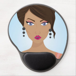 Beautiful girl with pink bra gel mouse pad