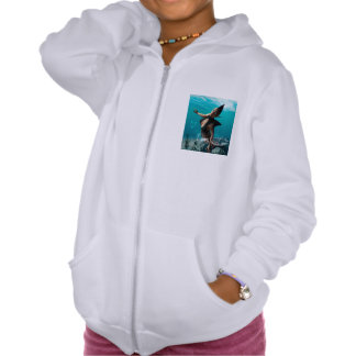 Beautiful girl with shark fins pullover