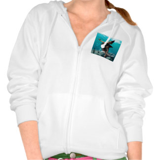 Beautiful girl with shark fins hooded pullovers