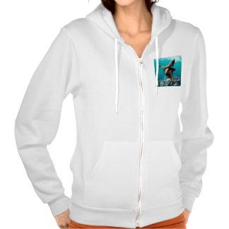 Beautiful girl with shark fins hooded sweatshirts