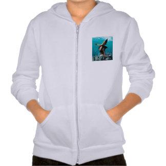 Beautiful girl with shark fins sweatshirt