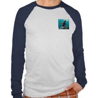 Beautiful girl with shark fins t-shirt