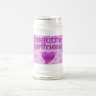 Beautiful Girlfriend Pink & Purple Love Hearts Beer Stein