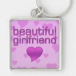 Beautiful Girlfriend Pink & Purple Love Hearts Keychains