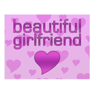 Beautiful Girlfriend Pink & Purple Love Hearts Postcard
