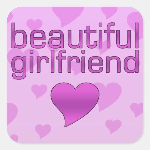Beautiful Girlfriend Pink & Purple Love Hearts Sticker