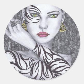 Beautiful girls Artwork Classic Round Sticker