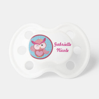 Beautiful Girly Owl Personalized Custom Name Pacifier
