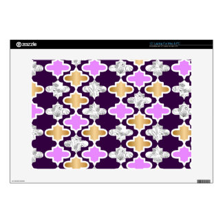 "Beautiful girly pattern with gold and purple decal for 15"" laptop"