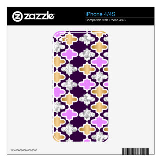 Beautiful girly pattern with gold and purple iPhone 4 skin