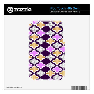 Beautiful girly pattern with gold and purple iPod touch 4G skin