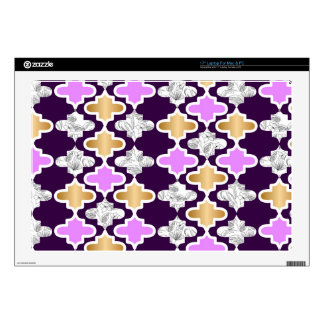 "Beautiful girly pattern with gold and purple skin for 17"" laptop"