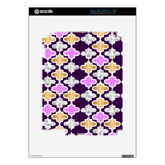 Beautiful girly pattern with gold and purple skins for iPad 2