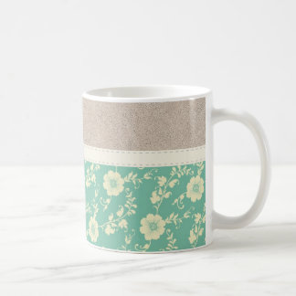 Beautiful Girly Teal Flower Pattern with Leather Coffee Mug