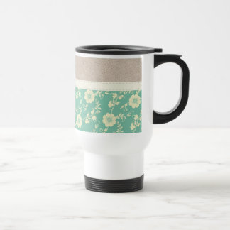 Beautiful Girly Teal Flower Pattern with Leather Coffee Mugs