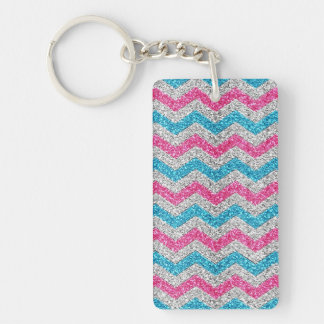 Beautiful girly trendy glitter shining zigzag Single-Sided rectangular acrylic keychain