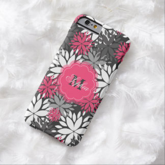 Beautiful girly trendy monogram floral pattern barely there iPhone 6 case