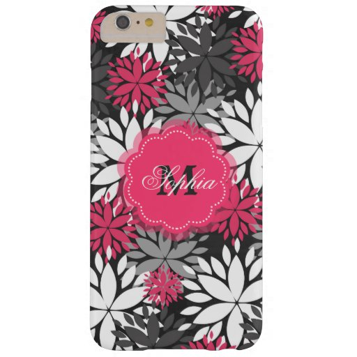 Beautiful girly trendy monogram floral pattern barely there iPhone 6 plus case