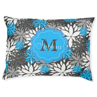 Beautiful girly trendy monogram floral pattern large dog bed