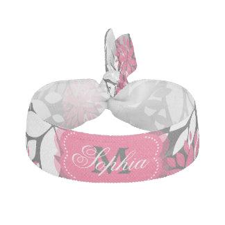 Beautiful girly trendy monogram floral pattern hair tie