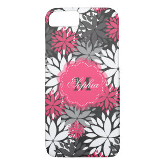 Beautiful girly trendy monogram floral pattern iPhone 7 case