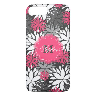 Beautiful girly trendy monogram floral pattern iPhone 7 plus case