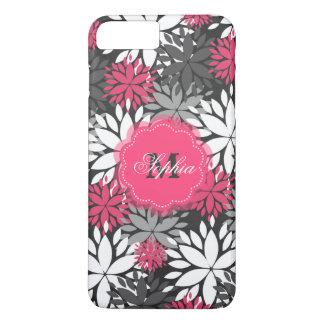 Beautiful girly trendy monogram floral pattern iPhone 7 plus case