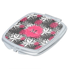 Beautiful Girly Trendy Monogram Floral Pattern Mirror For Makeup at Zazzle