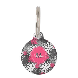 Beautiful girly trendy monogram floral pattern pet ID tag