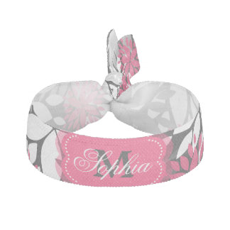 Beautiful girly trendy monogram floral pattern ribbon hair ties