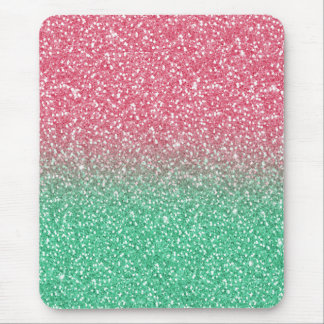 Beautiful girly trendy pink green  faux glitter mouse pad