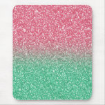 Beautiful girly trendy pink green  faux glitter mouse pads