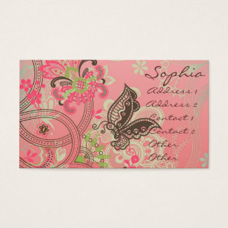 Beautiful girly trendy vintage lace floral business card