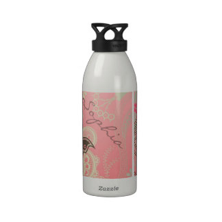 Beautiful girly trendy vintage lace floral water bottle