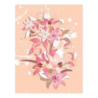 Beautiful girly trendy vintage pink white flowers postcard