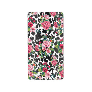 Beautiful girly trendy vintage roses and leopard label