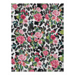 Beautiful girly trendy vintage roses and leopard print