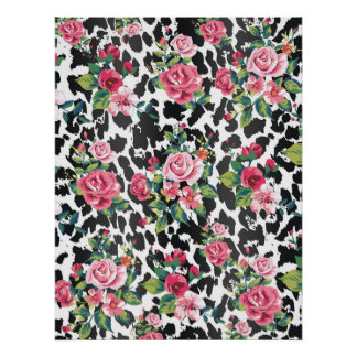 Beautiful girly trendy vintage roses and leopard poster