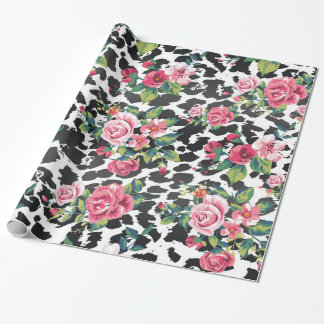 Beautiful girly trendy vintage roses and leopard wrapping paper