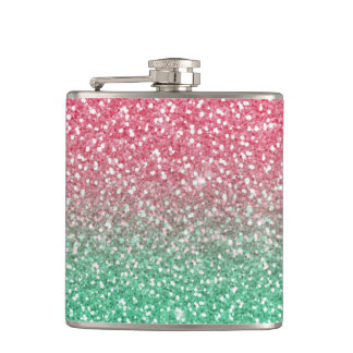 Beautiful girly trendypink green faux glitter flasks