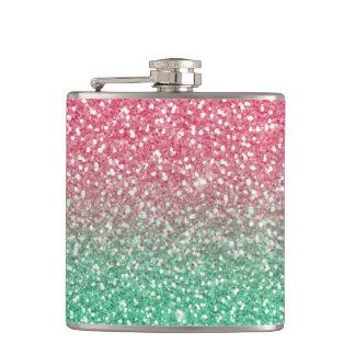 Beautiful girly trendypink green faux glitter hip flask