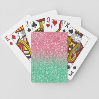 Beautiful girly trendypink green faux glitter playing cards